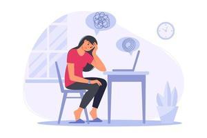 pratique de psychothérapie, aide psychologique, consultation de psychiatre en ligne. séance de psychothérapie en ligne femmes avec psychologue à domicile. soutien, aide en cas de problème mental. illustration de plat de vecteur