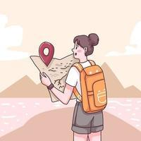 vecteur de personnage de dessin animé de voyageur adolescent