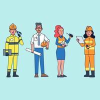 paquet de personnages vectoriels dans diverses professions vecteur