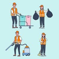le personnel de nettoyage des routes s'occupe du nettoyage des rues de la ville. vecteur