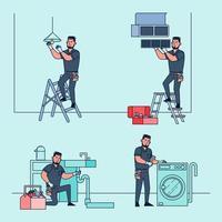 techniciens professionnels pour réparer et résoudre divers problèmes d'équipement à la maison. vecteur