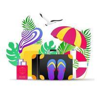 vacances d'été vacances tropicales voyage composition de conception de style plat dégradé avec carte d'embarquement d'avion, valise à bagages, chapeau de plage, masque de natation, illustration vectorielle de parapluie isolée sur blanc. vecteur