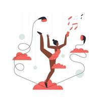 les gymnastes féminines exécutent des performances musicales. vecteur
