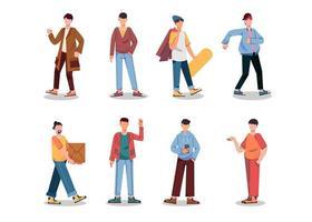 lot de nombreux personnages de carrière 2 ensembles, 8 poses de diverses professions, modes de vie, vecteur