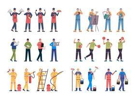lot de nombreux personnages de carrière 9 ensembles, 24 poses de diverses professions, modes de vie, vecteur