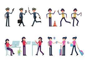 lot de nombreux personnages de carrière 4 ensembles, 12 poses de diverses professions, modes de vie, vecteur