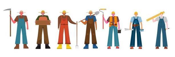 lot de nombreux personnages de carrière 2 ensembles, 7 poses de diverses professions, modes de vie, vecteur