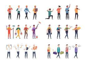 lot de nombreux personnages de carrière 6 ensembles, 24 poses de diverses professions, modes de vie, vecteur