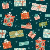 Modèle sans couture de Noël et bonne année avec les coffrets cadeaux.