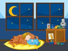 Chien de fille et animal de compagnie qui dort