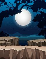 Fond de silhouette de forêt de nuit vecteur