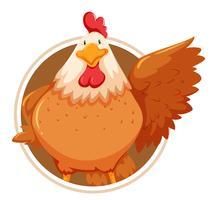 Modèle de poulet sur cercle vecteur