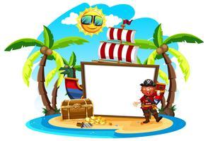 Capitaine de pirate et bannière blanche