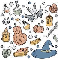 halloween ensemble d'attributs de sorcier et d'éléments de sorcellerie vecteur
