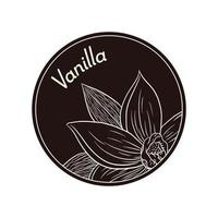 fleur de vanille de style vintage dans un modèle d'étiquette ou de logo en cercle vecteur