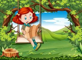 Camping fille lisant une carte sur une balançoire vecteur