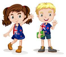 Britannique garçon et fille saluant vecteur
