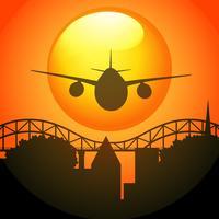 Scène de silhouette avec avion survolant le pont vecteur