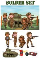 Soldats armés sur le terrain vecteur
