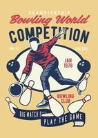 insigne vintage de compétition mondiale de bowling, conception d'insigne rétro vecteur