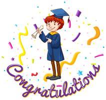 Modèle de carte de félicitations avec homme en robe de graduation vecteur