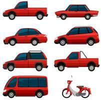 Différents types de transports en couleur rouge