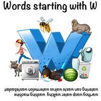 Conception d'affiche pédagogique pour les mots commençant par W vecteur