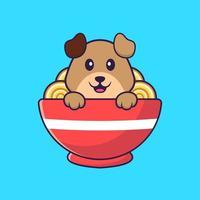chien mignon mangeant des nouilles ramen. concept de dessin animé animal isolé. peut être utilisé pour un t-shirt, une carte de voeux, une carte d'invitation ou une mascotte. style cartoon plat vecteur