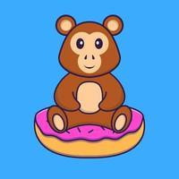 singe mignon est assis sur des beignets. concept de dessin animé animal isolé. peut être utilisé pour un t-shirt, une carte de voeux, une carte d'invitation ou une mascotte. style cartoon plat vecteur