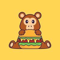 singe mignon mangeant un hamburger. concept de dessin animé animal isolé. peut être utilisé pour un t-shirt, une carte de voeux, une carte d'invitation ou une mascotte. style cartoon plat vecteur
