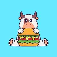 vache mignonne mangeant un hamburger. concept de dessin animé animal isolé. peut être utilisé pour un t-shirt, une carte de voeux, une carte d'invitation ou une mascotte. style cartoon plat vecteur