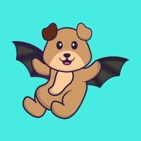 chien mignon vole avec des ailes. concept de dessin animé animal isolé. peut être utilisé pour un t-shirt, une carte de voeux, une carte d'invitation ou une mascotte. style cartoon plat vecteur