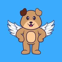 chien mignon utilisant des ailes. concept de dessin animé animal isolé. peut être utilisé pour un t-shirt, une carte de voeux, une carte d'invitation ou une mascotte. style cartoon plat vecteur