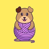 chien mignon jouant avec du fil de laine. concept de dessin animé animal isolé. peut être utilisé pour un t-shirt, une carte de voeux, une carte d'invitation ou une mascotte. style cartoon plat vecteur