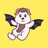 mouton mignon vole avec des ailes. concept de dessin animé animal isolé. peut être utilisé pour un t-shirt, une carte de voeux, une carte d'invitation ou une mascotte. style cartoon plat vecteur