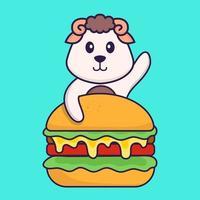 mouton mignon mangeant un hamburger. concept de dessin animé animal isolé. peut être utilisé pour un t-shirt, une carte de voeux, une carte d'invitation ou une mascotte. style cartoon plat vecteur
