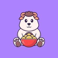moutons mignons mangeant des nouilles ramen. concept de dessin animé animal isolé. peut être utilisé pour un t-shirt, une carte de voeux, une carte d'invitation ou une mascotte. style cartoon plat vecteur