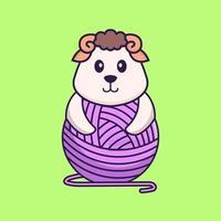 mouton mignon jouant avec du fil de laine. concept de dessin animé animal isolé. peut être utilisé pour un t-shirt, une carte de voeux, une carte d'invitation ou une mascotte. style cartoon plat vecteur