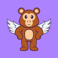 singe mignon utilisant des ailes. concept de dessin animé animal isolé. peut être utilisé pour un t-shirt, une carte de voeux, une carte d'invitation ou une mascotte. style cartoon plat vecteur