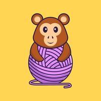 singe mignon jouant avec du fil de laine. concept de dessin animé animal isolé. peut être utilisé pour un t-shirt, une carte de voeux, une carte d'invitation ou une mascotte. style cartoon plat vecteur
