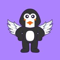 pingouin mignon utilisant des ailes. concept de dessin animé animal isolé. peut être utilisé pour un t-shirt, une carte de voeux, une carte d'invitation ou une mascotte. style cartoon plat vecteur