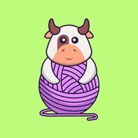 jolie vache jouant avec du fil de laine. concept de dessin animé animal isolé. peut être utilisé pour un t-shirt, une carte de voeux, une carte d'invitation ou une mascotte. style cartoon plat vecteur