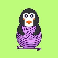 mignon pingouin jouant avec du fil de laine. concept de dessin animé animal isolé. peut être utilisé pour un t-shirt, une carte de voeux, une carte d'invitation ou une mascotte. style cartoon plat vecteur