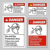 zone de protection des oreilles et des yeux de signe de danger, une défaillance peut entraîner des dommages auditifs et visuels vecteur