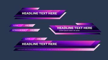 pack tiers inférieur violet avec des couleurs modernes. titre de titre vidéo vectoriel ou modèle de conception de barre d'actualités télévisées isolé sur fond blanc.