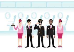dessin animé de passager à réaction sur le vol du siège. ligne de sièges d'avion dans la cabine et équipe de compagnies aériennes musulmanes professionnelles en uniforme, vecteur de style icône plate.