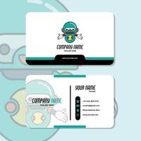 graphique vectoriel de conception de carte de visite, avec logo de robot mascotte mignon. parfait à utiliser pour l'ordinateur de laboratoire