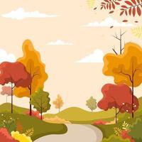 paysage d'automne de beauté vecteur