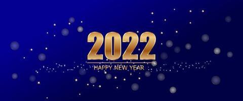 2022 nouvel an sur fond bleu avec texte d'or de luxe et étoile de vecteur. vecteur