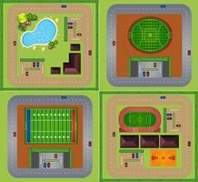 Terrains et terrains de sport vecteur